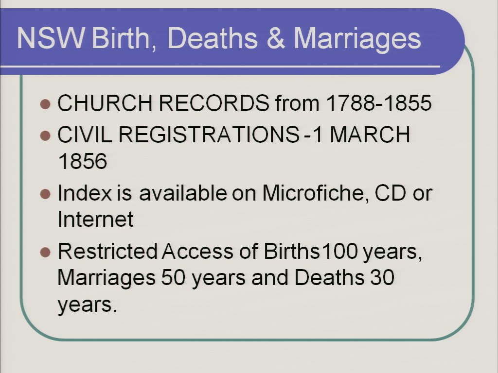 Using the New South Wales Birth, Death, Marriage Index